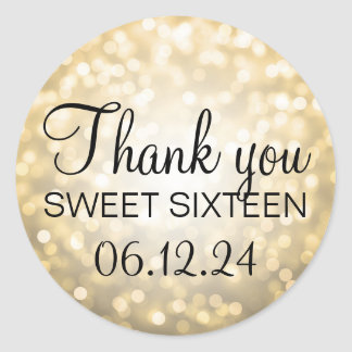Thank You Sweet 16 Birthday Gold Glitter Lights Classic Round Sticker