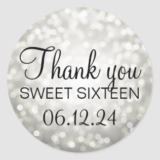 Thank You Sweet 16 Birthday Silver Glitter Lights Round Sticker