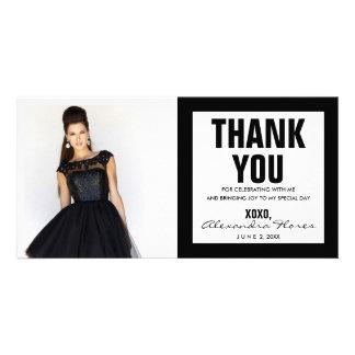 Thank You Sweet 16 Photo Card Modern Black & White
