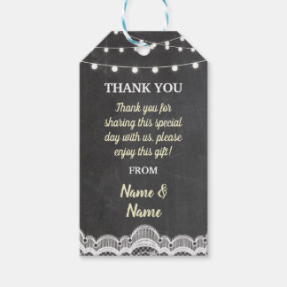 Thank you Tag Chalk Lace Jar Favour Tags Wedding