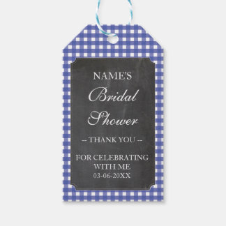 Thank you Tag Favour Blue Check Bridal Shower