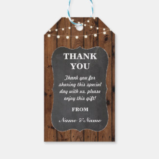 Thank you Tag Favour Tags Wood Chalk Wedding
