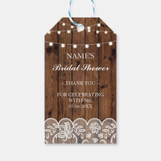 Thank you Tag Favour Wood Lace Bridal Shower