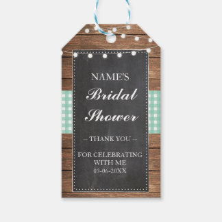 Thank you Tag Favour Wood Mint Check Bridal Shower