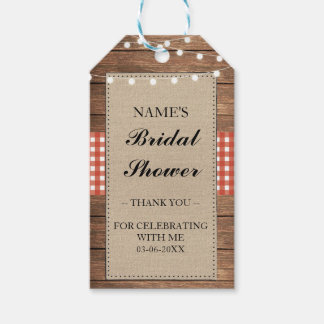 Thank you Tag Favour Wood Red Check Bridal Shower