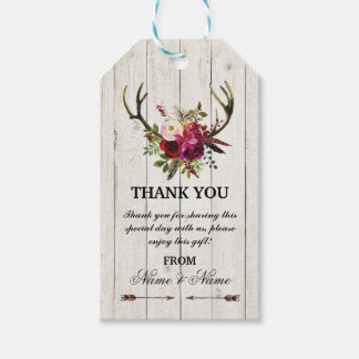 Thank you Tag Floral Favour Tags Antlers Wedding