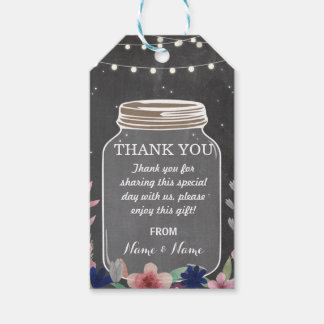 Thank you Tag Floral Favour Tags Jar Chalk Wedding