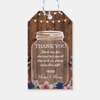 Thank you Tag Floral Favour Tags Jar Wood Wedding