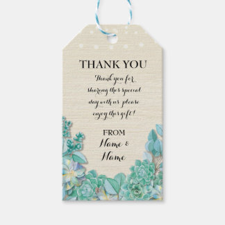 Thank you Tag Floral Favour Tags Succulent Wedding