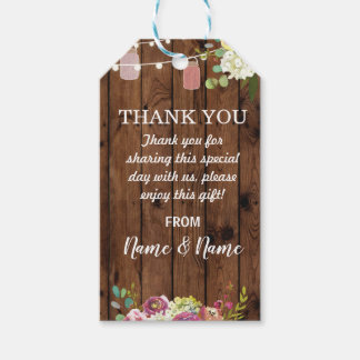 Thank you Tag Floral Jars Favour Tags Wood Wedding