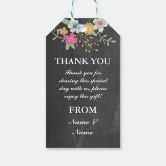 Thank you Tag Flowers Favour Tags Chalk Wedding