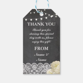 Thank you Tag Lace Favour Tags Chalkboard Wedding