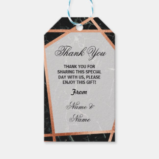 Thank you Tag Marble Favour Rose Gold Wedding