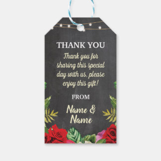 Thank you Tag Red Roses Favour Tags Chalk Wedding