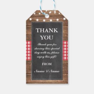 Thank you Tag Rustic Red Favour Tags Chalk Wedding
