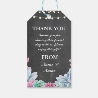 Thank you Tag Succulents Favour Tags Chalk Wedding