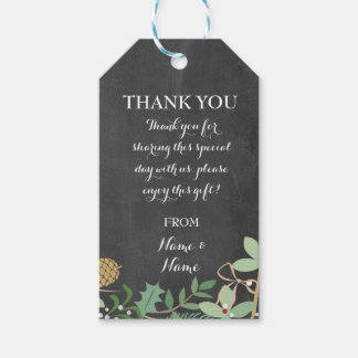Thank you Tag Winter Favour Tags Chalk Wedding