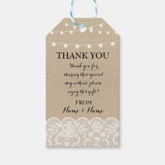 Thank you Tag Winter Tags Lights Lace Wedding