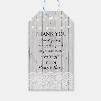 Thank you Tag Winter Tags Wood Lights Lace Wedding