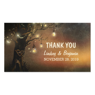 thank you tag with string lights mason jar tree pack of standard business cards