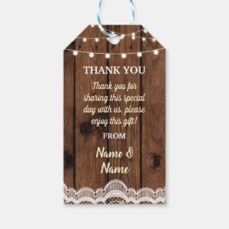 Thank you Tag Wood Lace Jar Favour Tags Wedding