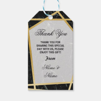 Thank you Tags Black Marble Favour Gold Wedding