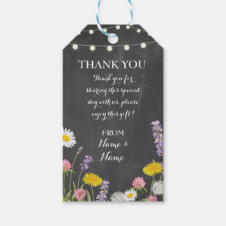 Thank you Tags Chalk Favour Wild Flowers Wedding
