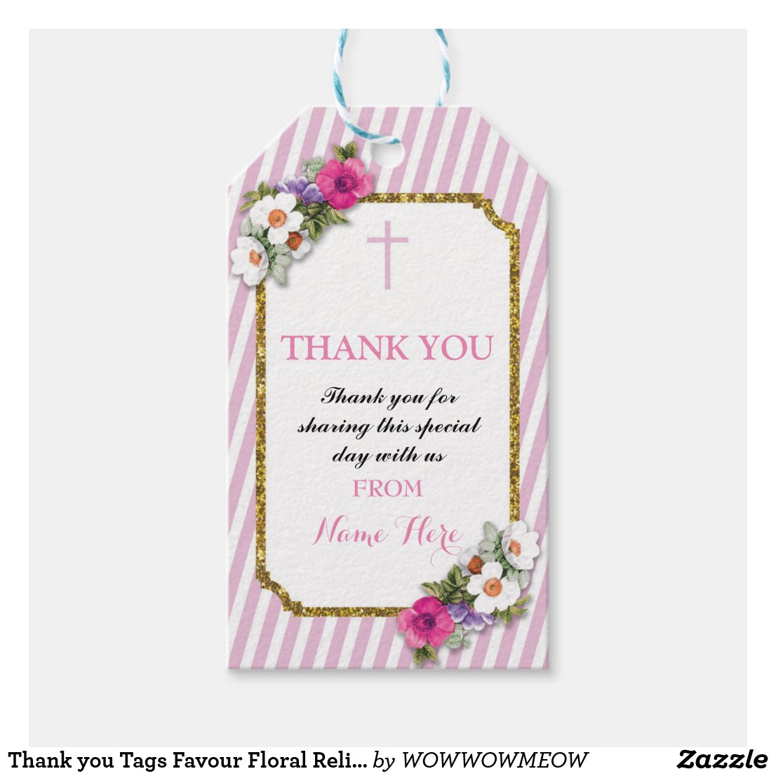 Thank you Tags Favour Floral Religious Pink