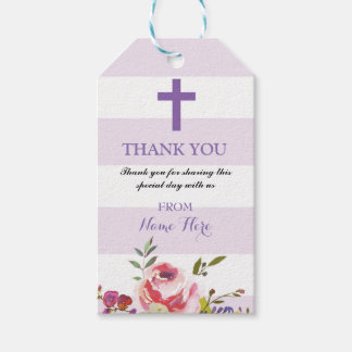 Thank you Tags Favour Floral Religious Purple