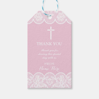 Thank you Tags Favour Pink Lace Cross Religious