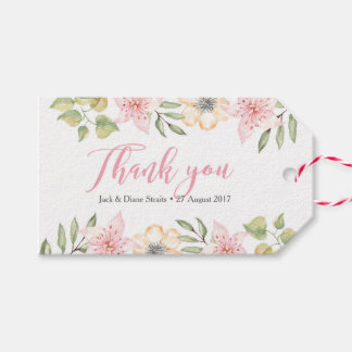 Thank you tags, Favour tags   Pink & Cream Flowers