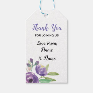 Thank You Tags Wedding Purple Flower Floral
