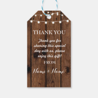 Thank you Tags Wood Favour Lights Elegant Wedding