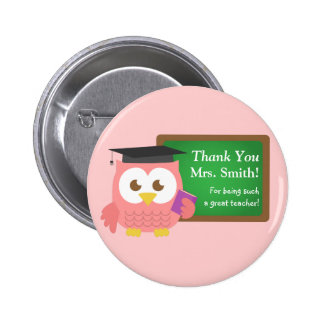 Thank you, Teacher Appreciation Day, Cute Pink Owl 6 Cm Round Badge