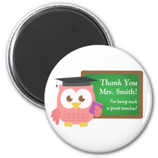 Thank you, Teacher Appreciation Day, Cute Pink Owl 6 Cm Round Magnet