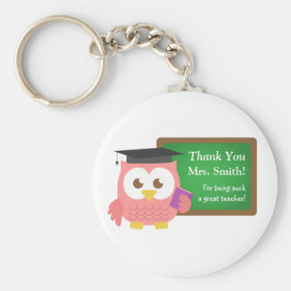 Thank you, Teacher Appreciation Day, Cute Pink Owl Basic Round Button Key Ring