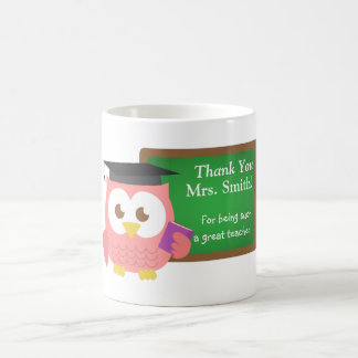 Thank you, Teacher Appreciation Day, Cute Pink Owl Basic White Mug