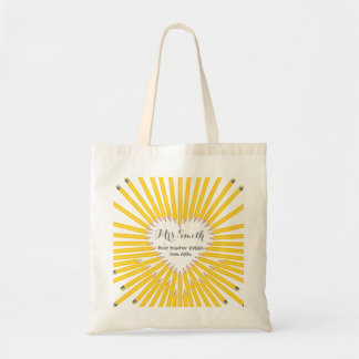 Thank you teacher big heart pencil gift tote bag