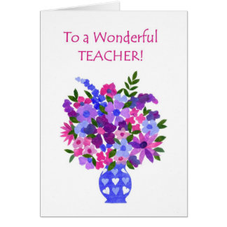 Thank You, Teacher Card - Flower Power
