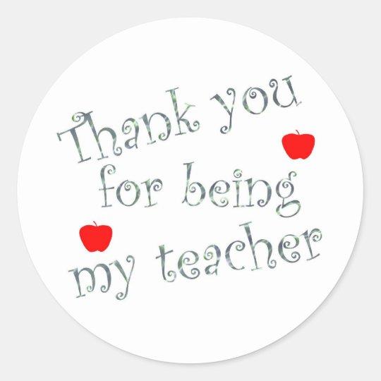 Thank you teacher classic round sticker