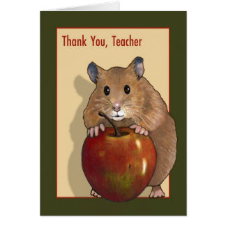 Thank You Teacher: Cute Hamster With Red Apple Greeting Card