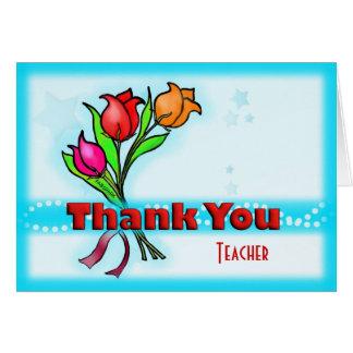 THANK YOU TEACHER fun cute cartoon flowers Greeting Card