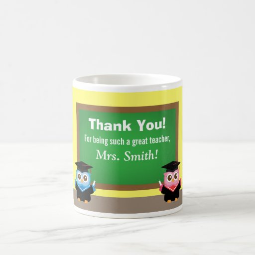 Thank you teacher, Graduation Farewell, Cute Owls Coffee Mugs