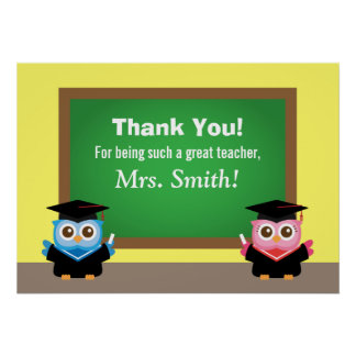 Thank you teacher, Graduation Farewell, Cute Owls Poster