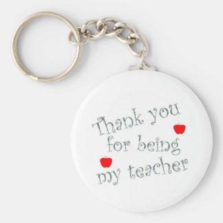 Thank you teacher basic round button key ring