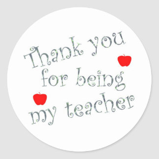 Thank you teacher round sticker