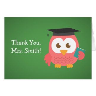 Thank You Teacher, Teacher Owl, Pink Card