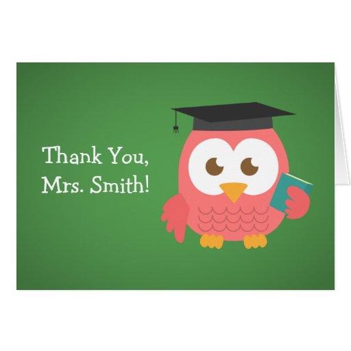 Thank You Teacher, Teacher Owl, Pink Greeting Card