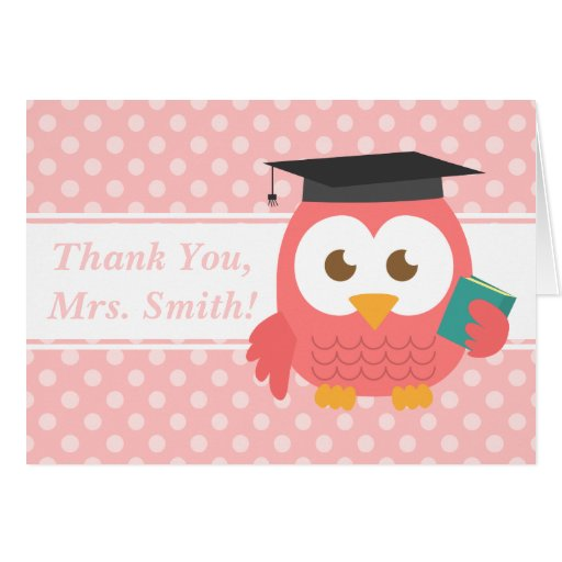 Thank You Teacher, Teacher Owl, Pink Polka Dots Cards