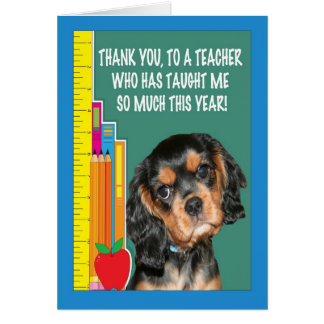 Thank You Teacher With Puppy And School Supplies Greeting Card